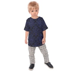 Damask1 Black Marble & Blue Leather Kids Raglan Tee by trendistuff
