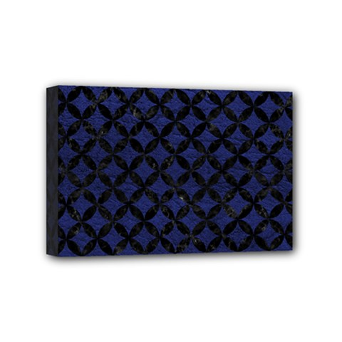 Circles3 Black Marble & Blue Leather (r) Mini Canvas 6  X 4  (stretched) by trendistuff