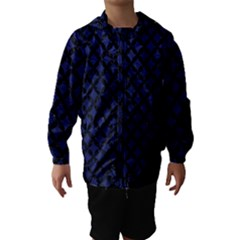 Circles3 Black Marble & Blue Leather (r) Hooded Wind Breaker (kids) by trendistuff