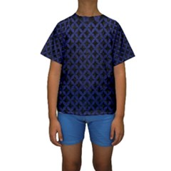 Circles3 Black Marble & Blue Leather Kids  Short Sleeve Swimwear by trendistuff