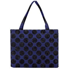 Circles2 Black Marble & Blue Leather (r) Mini Tote Bag by trendistuff