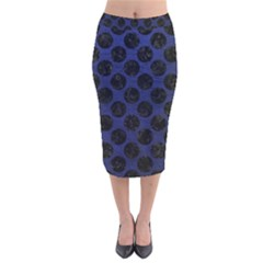 Circles2 Black Marble & Blue Leather (r) Velvet Midi Pencil Skirt