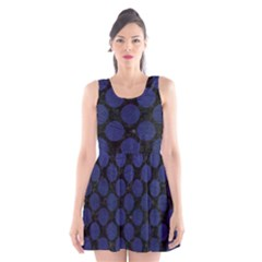 Circles2 Black Marble & Blue Leather Scoop Neck Skater Dress by trendistuff