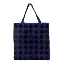 Circles1 Black Marble & Blue Leather (r) Grocery Tote Bag by trendistuff