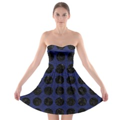 Circles1 Black Marble & Blue Leather (r) Strapless Bra Top Dress by trendistuff