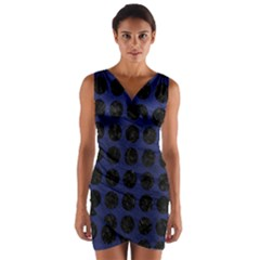 Circles1 Black Marble & Blue Leather (r) Wrap Front Bodycon Dress by trendistuff