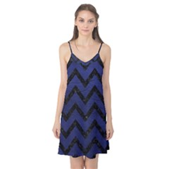Chevron9 Black Marble & Blue Leather (r) Camis Nightgown