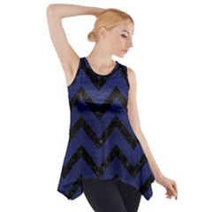 Chevron9 Black Marble & Blue Leather (r) Side Drop Tank Tunic by trendistuff