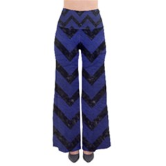 Chevron9 Black Marble & Blue Leather (r) So Vintage Palazzo Pants by trendistuff