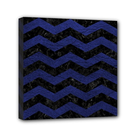Chevron3 Black Marble & Blue Leather Mini Canvas 6  X 6  (stretched) by trendistuff