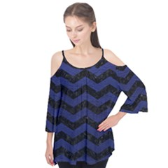 Chevron3 Black Marble & Blue Leather Flutter Sleeve Tee  by trendistuff