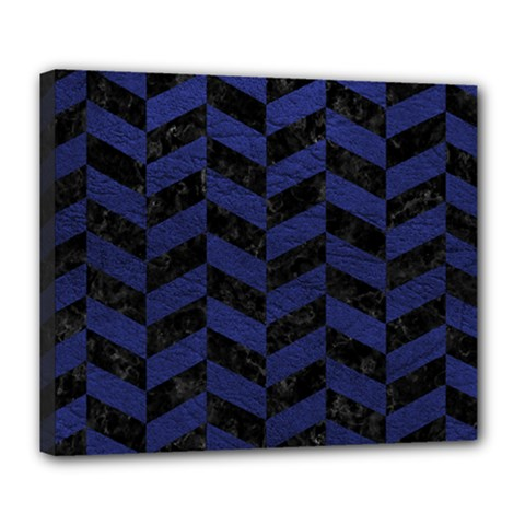 Chevron1 Black Marble & Blue Leather Deluxe Canvas 24  X 20  (stretched) by trendistuff