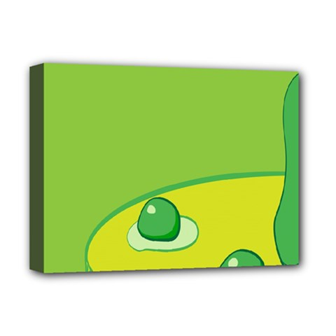 Food Egg Minimalist Yellow Green Deluxe Canvas 16  X 12   by Alisyart