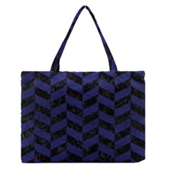 Chevron1 Black Marble & Blue Leather Medium Zipper Tote Bag by trendistuff