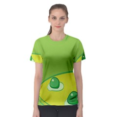 Food Egg Minimalist Yellow Green Women s Sport Mesh Tee