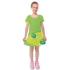 Food Egg Minimalist Yellow Green Kids  Short Sleeve Velvet Dress