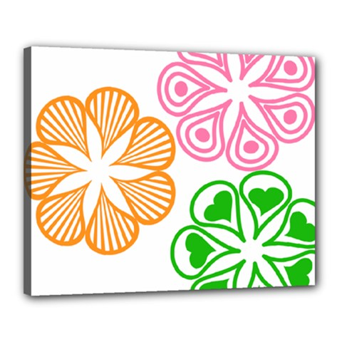 Flower Floral Love Valentine Star Pink Orange Green Canvas 20  X 16  by Alisyart