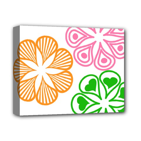 Flower Floral Love Valentine Star Pink Orange Green Deluxe Canvas 14  X 11  by Alisyart