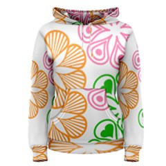 Flower Floral Love Valentine Star Pink Orange Green Women s Pullover Hoodie