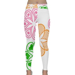 Flower Floral Love Valentine Star Pink Orange Green Classic Yoga Leggings by Alisyart