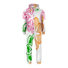 Flower Floral Love Valentine Star Pink Orange Green Hooded Jumpsuit (kids)