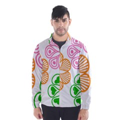 Flower Floral Love Valentine Star Pink Orange Green Wind Breaker (men)