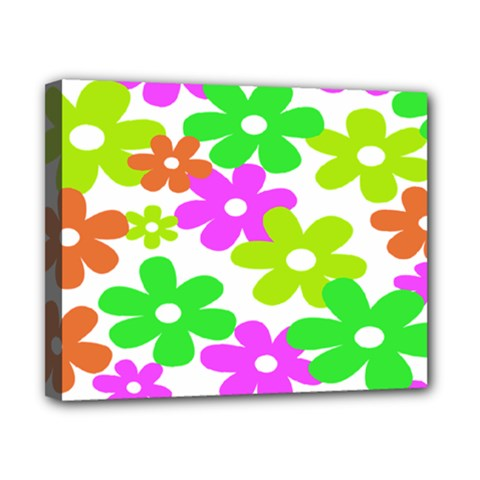Flowers Floral Sunflower Rainbow Color Pink Orange Green Yellow Canvas 10  X 8  by Alisyart