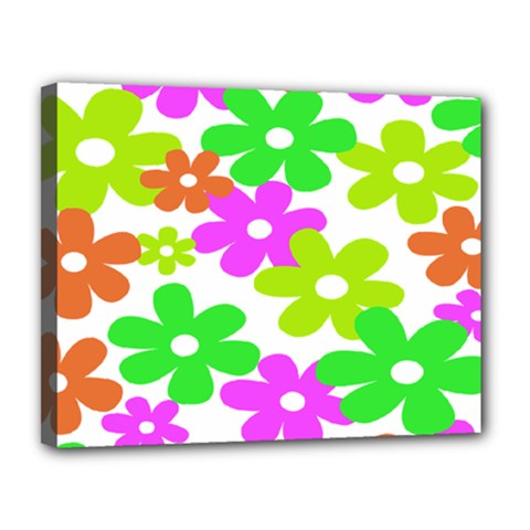 Flowers Floral Sunflower Rainbow Color Pink Orange Green Yellow Canvas 14  X 11