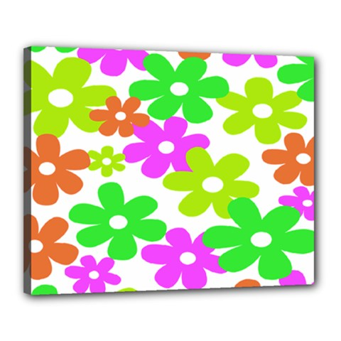 Flowers Floral Sunflower Rainbow Color Pink Orange Green Yellow Canvas 20  X 16  by Alisyart