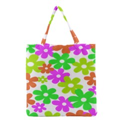 Flowers Floral Sunflower Rainbow Color Pink Orange Green Yellow Grocery Tote Bag by Alisyart