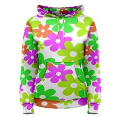 Flowers Floral Sunflower Rainbow Color Pink Orange Green Yellow Women s Pullover Hoodie