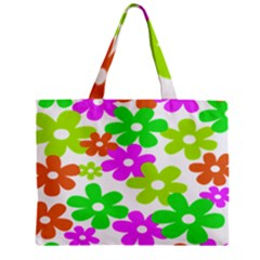Flowers Floral Sunflower Rainbow Color Pink Orange Green Yellow Zipper Mini Tote Bag by Alisyart