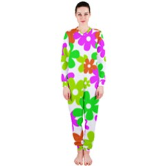 Flowers Floral Sunflower Rainbow Color Pink Orange Green Yellow Onepiece Jumpsuit (ladies)