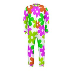 Flowers Floral Sunflower Rainbow Color Pink Orange Green Yellow Onepiece Jumpsuit (kids)