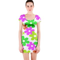 Flowers Floral Sunflower Rainbow Color Pink Orange Green Yellow Short Sleeve Bodycon Dress
