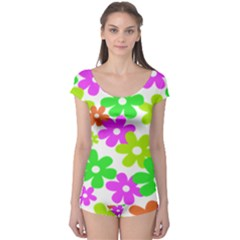 Flowers Floral Sunflower Rainbow Color Pink Orange Green Yellow Boyleg Leotard