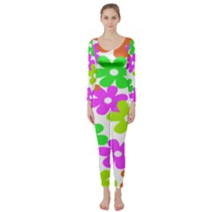 Flowers Floral Sunflower Rainbow Color Pink Orange Green Yellow Long Sleeve Catsuit