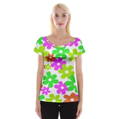 Flowers Floral Sunflower Rainbow Color Pink Orange Green Yellow Women s Cap Sleeve Top