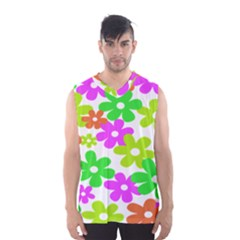 Flowers Floral Sunflower Rainbow Color Pink Orange Green Yellow Men s Basketball Tank Top