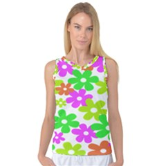 Flowers Floral Sunflower Rainbow Color Pink Orange Green Yellow Women s Basketball Tank Top