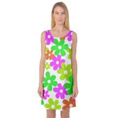 Flowers Floral Sunflower Rainbow Color Pink Orange Green Yellow Sleeveless Satin Nightdress