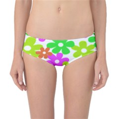 Flowers Floral Sunflower Rainbow Color Pink Orange Green Yellow Classic Bikini Bottoms