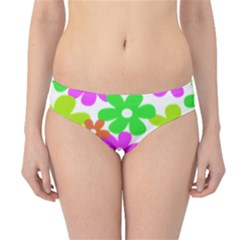Flowers Floral Sunflower Rainbow Color Pink Orange Green Yellow Hipster Bikini Bottoms