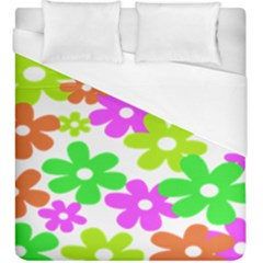Flowers Floral Sunflower Rainbow Color Pink Orange Green Yellow Duvet Cover (king Size) by Alisyart