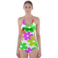 Flowers Floral Sunflower Rainbow Color Pink Orange Green Yellow Cut Out One Piece Swimsuit