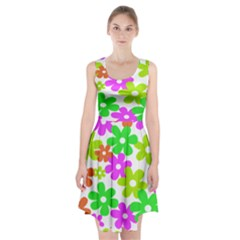 Flowers Floral Sunflower Rainbow Color Pink Orange Green Yellow Racerback Midi Dress by Alisyart