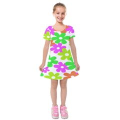 Flowers Floral Sunflower Rainbow Color Pink Orange Green Yellow Kids  Short Sleeve Velvet Dress