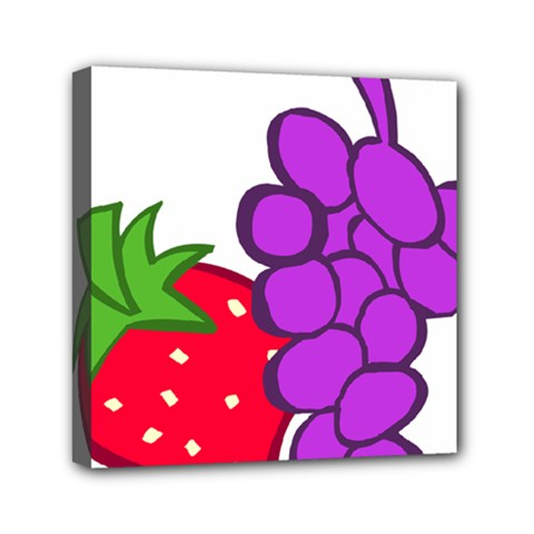 Fruit Grapes Strawberries Red Green Purple Mini Canvas 6  X 6  by Alisyart