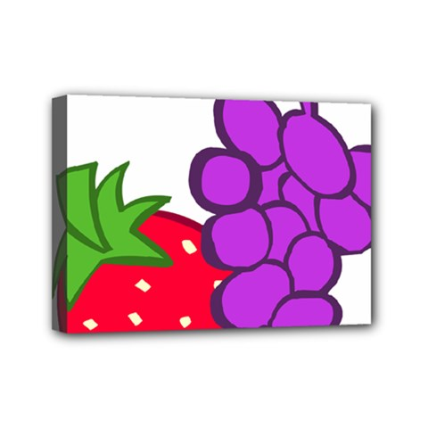 Fruit Grapes Strawberries Red Green Purple Mini Canvas 7  X 5  by Alisyart