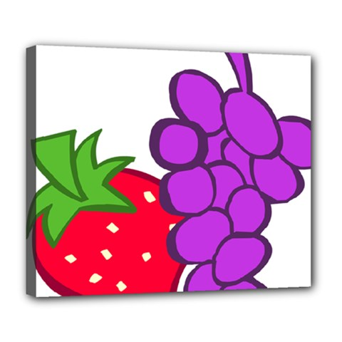 Fruit Grapes Strawberries Red Green Purple Deluxe Canvas 24  X 20